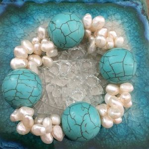 Anthropologie real pearls turquoise bracelet